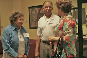 Photo: Trudy Brown chats with Louis and Carol Gaignard