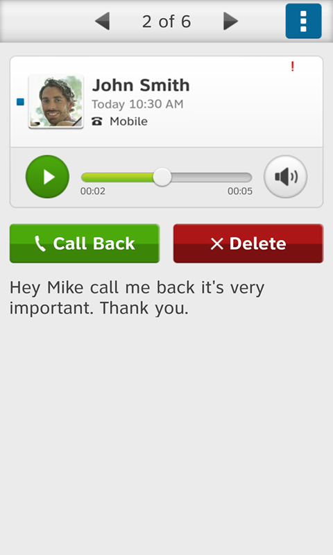 AT&T Visual Voicemail- screenshot