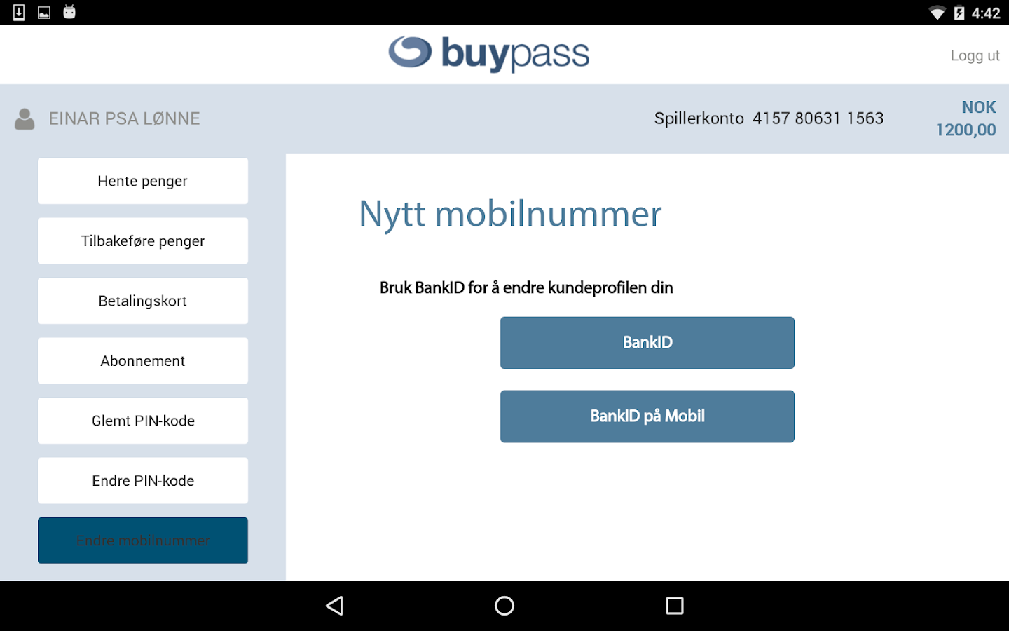 Buypass ID and payment- screenshot