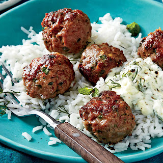 Greek Meatballs with Cucumber-Yogurt Sauce and Rice.
