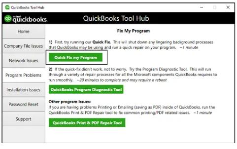 Running Quick Fix my program