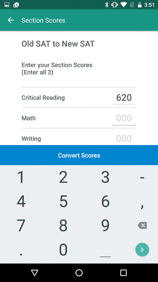SAT Score Converter- screenshot