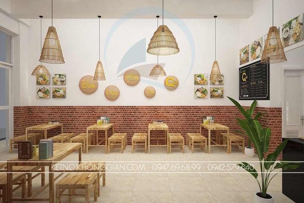 thiết kế quán bún đậu mộc mạc
