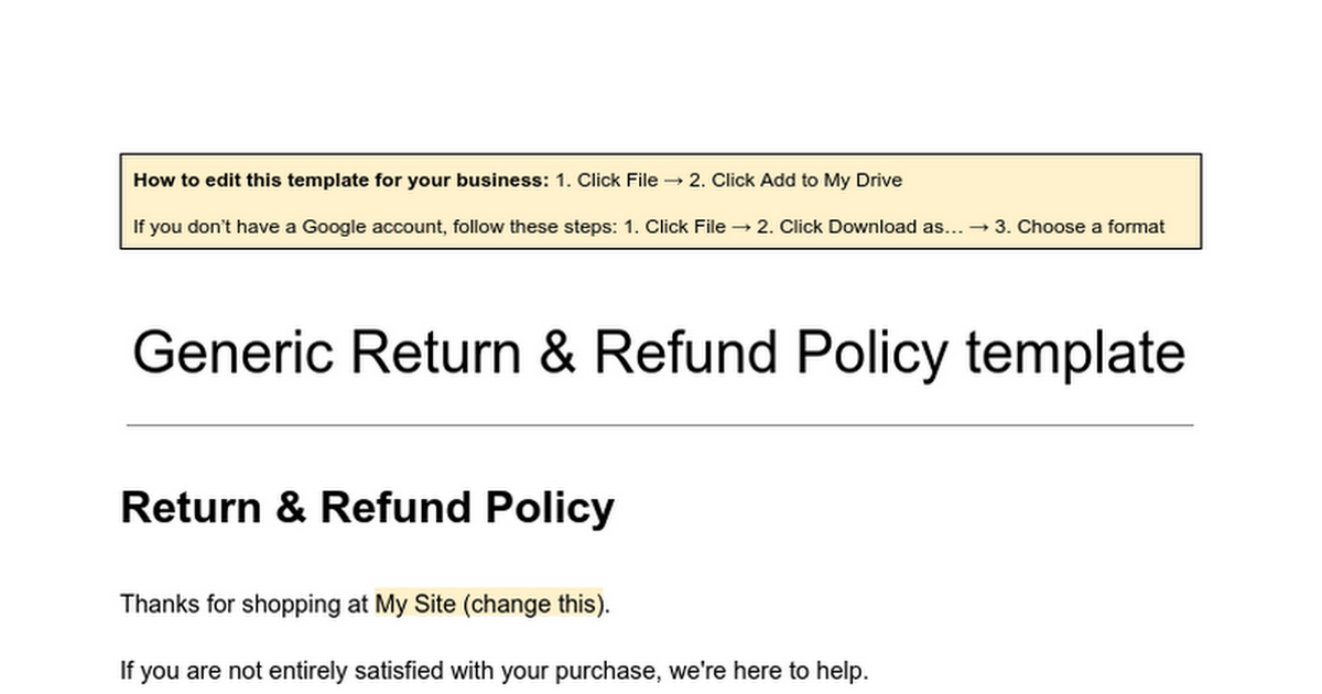 Generic Return and Refund Policy Template Google Docs