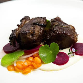 Twice Cooked Lamb with Lamb Jus, Macadamia Nut Puree, Pickled Beets and Vegetables.