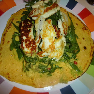 Chickpea Flatbreads with Halloumi, Rocket and Avocado Smash Recipe