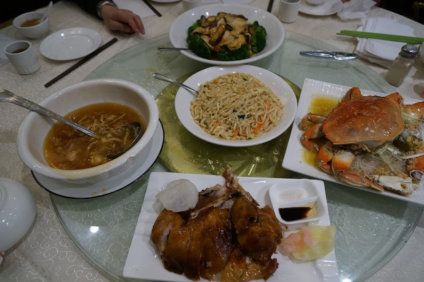 Duck, crab, yi mein, vegetables, and soup