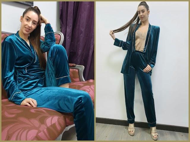 La modelo con el pijama creado por Sergi Regal.