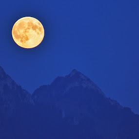 Light on by Konstanze Singenberger - Landscapes Mountains & Hills ( hill, mountain, full moon, light )