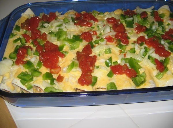 Add 1/2 the  pepper/onion mixture,cream cheese and 1 cup of the salsa. Stir until...