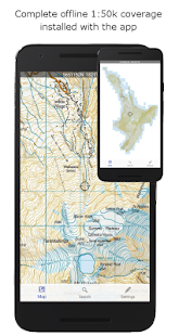 NZ Topo50 Offline Sth Island Map and Hunting Areas - náhled