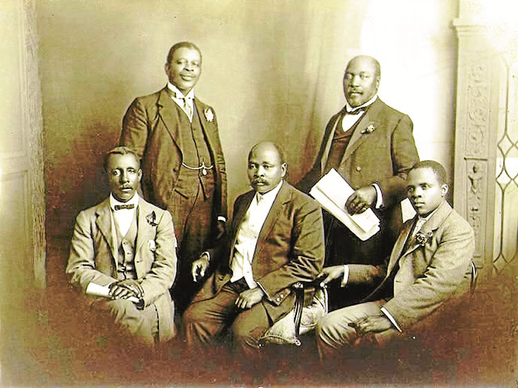 Early protest: A delegation comprising Thomas Mapikela, Walter Rubusane, John Dube, Saul Msane and Sol Plaatje from the South African Native National Congress – later called the ANC – went to Britain in 1914 to object to the Land Act. In The Land is Ours, Tembeka Ngcukaitobi traces the origins of the current land debate. Picture: UWC ROBBEN ISLAND MAYIBUYE ARCHIVE