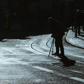 Shadow of the past by Clément Viguier - People Street & Candids ( old man, lisbon, shadow, street, lisboa, crossing, street photography )