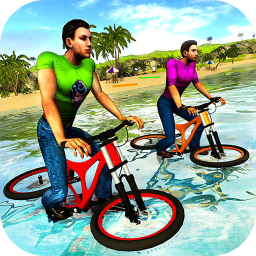 Water Surfer Floating BMX Bicycle Rider Racing