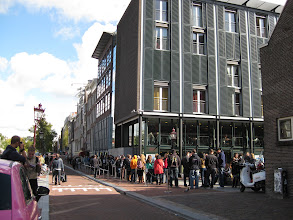 Photo: Best we could tell, the Anne Frank house was somewhere inside that building on the end, and that line of people extended around the corner and well down the block. We decided to pass on the experience.