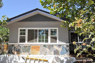 Photo: Need to decide on the color of the 2x8 bellie band below the exterior shingles. White or Blue?