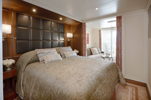 Seven-Seas-Explorer-Veranda-Suite.jpg - At 307 total square feet, the Veranda Suite on Seven Seas Explorer features a bedroom with king-size bed, marble bathroom, sitting area and private balcony.