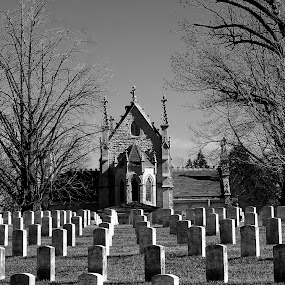 Crown Hill Cemetery by Gary Poulsen - Buildings & Architecture Places of Worship ( church, indianapolis, bw, headstone, historic places, crown hill cemetary, , black and white, b and w, landscape, b&w, monotone, mono-tone )