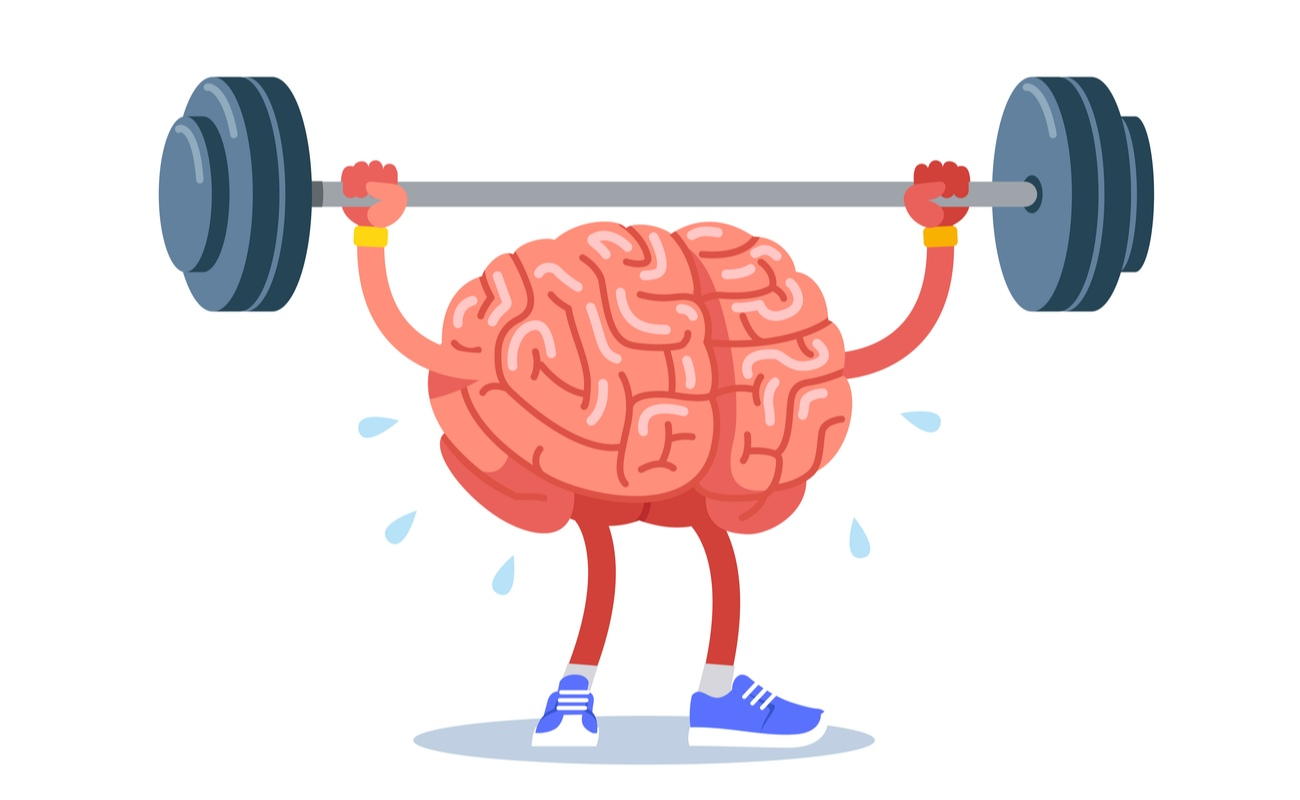 A brain with limbs lifting up a big weight