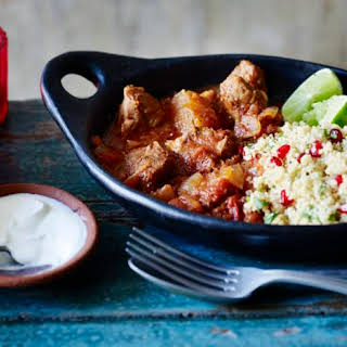 Moroccan Lamb Tagine With Lemon And Pomegranate Couscous.
