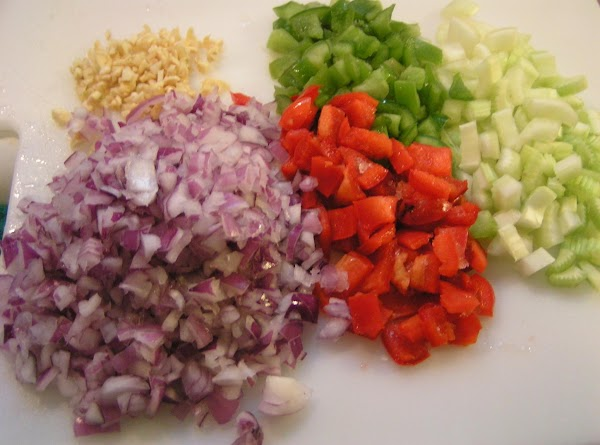 While beans are soaking; chop up vegetables; set aside.