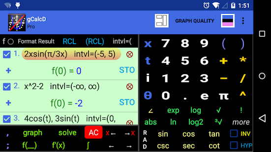Graphing Calculator | Intersections | Derivatives Screenshot