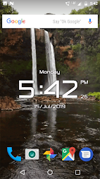 Waterfall digital clock live wallpaper APK screenshot thumbnail 5