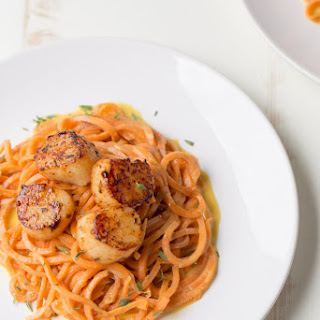 Blackened Scallops with Sweet Potato Noodles.