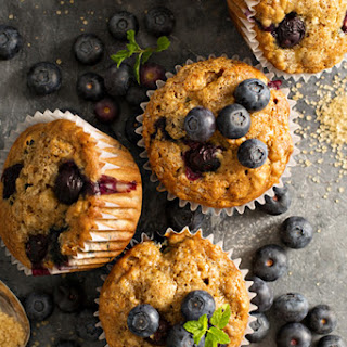 Healthy Whole Wheat Cinnamon Blueberry Muffins.