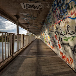 Graffiti Infiniti by Steve Badger - Buildings & Architecture Bridges & Suspended Structures ( leading lines, graffiti, walkway, bridge, infinity )