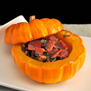 Mini Pumpkins Stuffed with Ham, Walnuts and Sage.