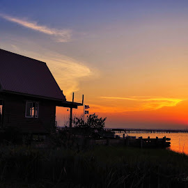 Sunset off the Crab Shack by Cathy Sutherin - Buildings & Architecture Other Exteriors ( sky, outdoor, shack, nature, sunset, water, building, colorful,  )