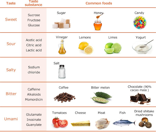 Common examples of foods/taste substances for each of the basic tastes Common examples of foods/taste substances for each of the basic tastes
