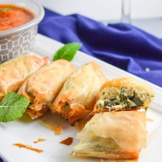 Kale Spanakopita with Harissa Sauce and Mint Oil (from the Crossroads cookbook)