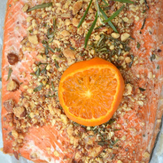 Baked Salmon with Rosemary and Almonds.