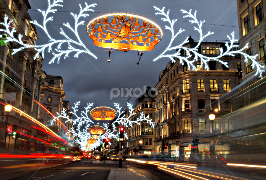 Regent Street, London by Ludwig Wagner - Public Holidays Christmas ( lights, pwcholidays, decoration, street, christmas, mood, mood factory, holiday, hanukkah, red, green, artifical, lighting, colors, Kwanzaa, blue, black, celebrate, tis the season, festive )