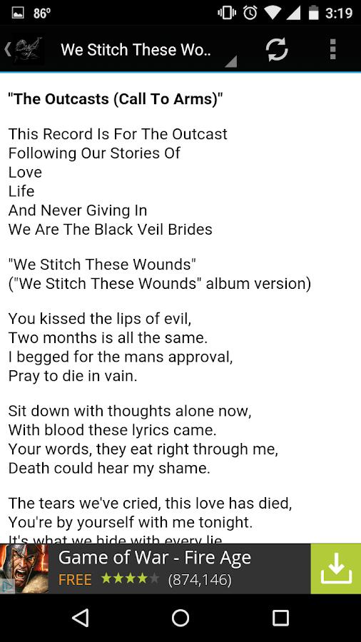 Black Veil Brides Lyrics - Android Apps on Google Play