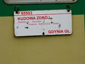 Photo: Kudowa Zdrój: tablica kierunkowa pociągu do Gdyni.