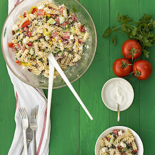Creamy Greek salad pasta.
