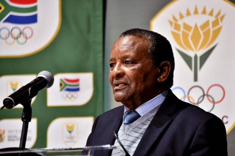 Sascoc president Gideon Sam speaks during the Annual General Meeting (AGM) at Olympic House on June 09, 2018 in Johannesburg.