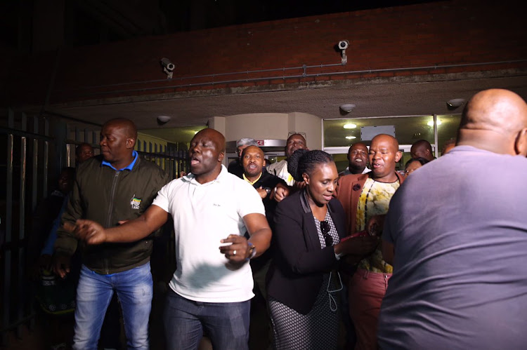 ANC members celebrate after the Pietermaritzburg High Court on Friday granted an interdict to to stop the party's provincial elective conference. Picture: JACKIE CLAUSEN