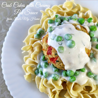 Crab Cakes with Creamy Pea Sauce.