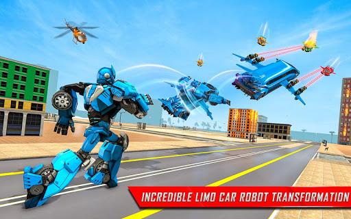 Flying Limo Robot Car Transform: Police Robot Game screenshots 9