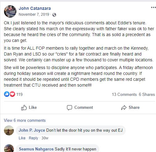 Facebook post by Catanzara