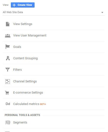 View column in admin panel in Google Analytics