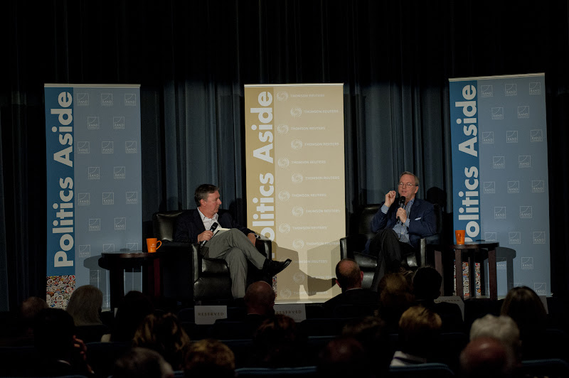 """Photo: Eric Schmidt (right), executive chairman of Google, told the opening session of the RAND Corporation's Politics Aside event Thursday evening that he is """"terribly worried"""" about the prospect of """"balkanizing"""" the internet. In discussion with Jonathan Weber (left), West Coast bureau chief for Reuters, Schmidt decried Iran's attempts to cut the country off from the internet. """"They're essentially bombing themselves into the stone age technologically,"""" Schmidt said. But he said such efforts will ultimately prove fruitless."""