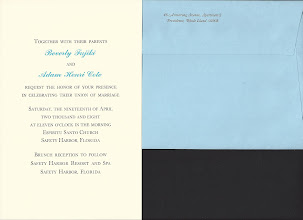 Photo: Invitation is 16 & 12 pt. Baskerville (mimicking small caps) with 24 pr. Commercial Script added in pastel blue (requiring a separate press run). Return address is 12 pt. Baskerville Italic.