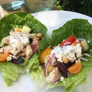 'No Cook' Greek Rotisserie Chicken Lettuce Wraps.