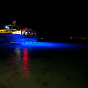 Boat at Isla Mujeres by Cristobal Garciaferro Rubio - Transportation Boats ( caribbean sea, mexico, boats, boat, isla mujeres )