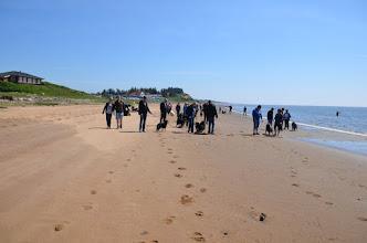 Photo: Start på gåturen fra Sjelborg Strand med 30 deltagere og 25 hunde, heraf kun 1 af anden race end finsk lapphund.